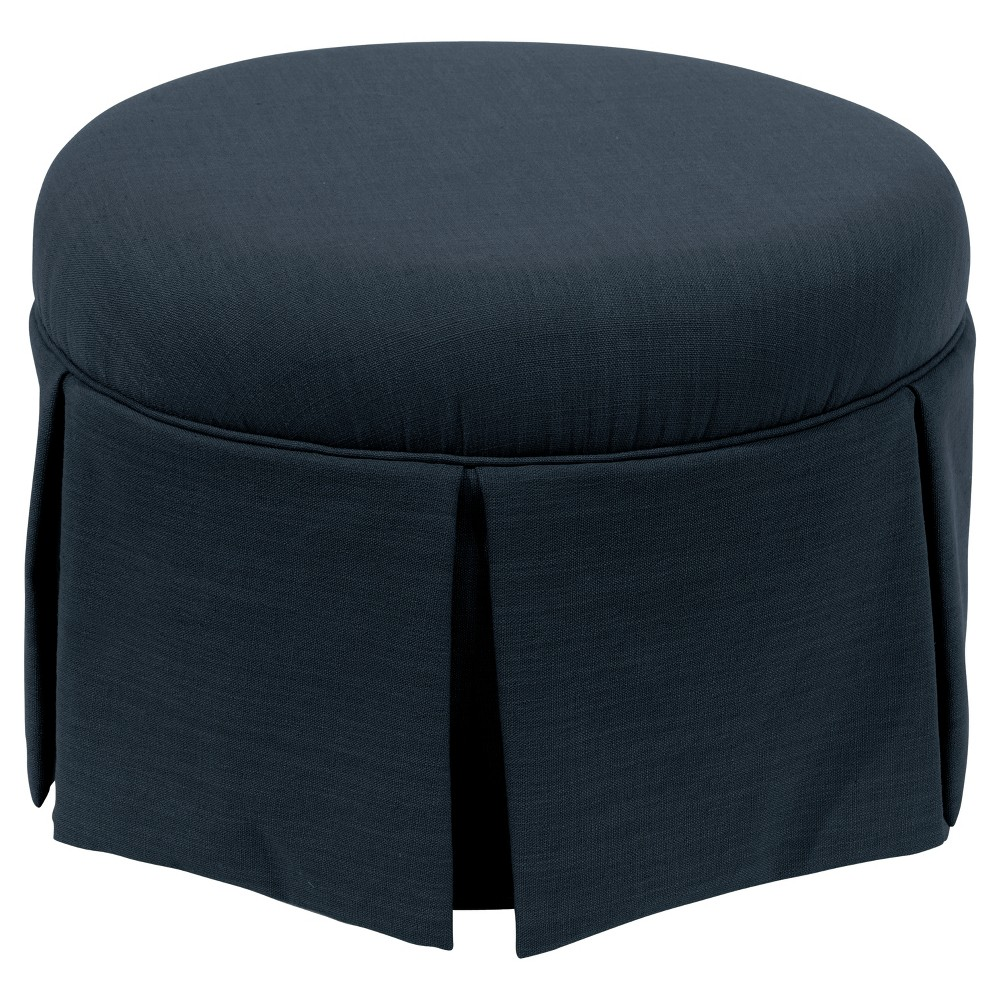 Best Discount Round Skirted Ottoman In Linen Navy Skyline Furniture