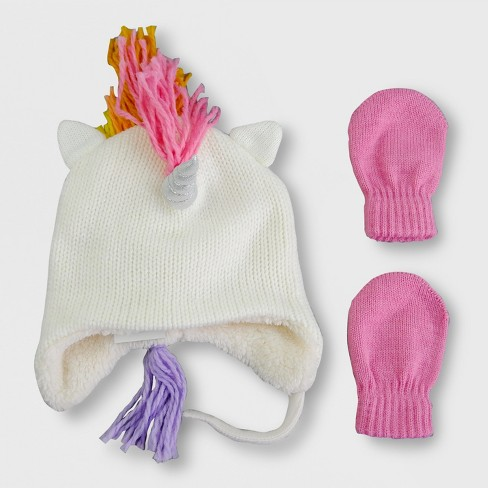 f4f69e71d9f26 Toddler Girls  Knit Unicorn Hat and Mitten Set - Cat   Jack™ Cream Pink