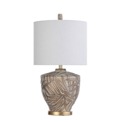 Lalita Palm Leaf Print Table Lamp with Fabric Shade White/Gold - StyleCraft