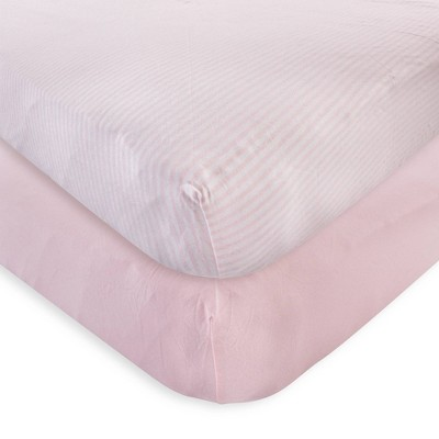 Touched by Nature Unisex Baby and Toddler Organic Cotton Crib Sheet - Barely Pink One Size