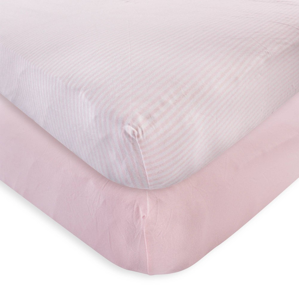 Touched By Nature Unisex Baby And Toddler Organic Cotton Crib Sheet Barely Pink One Size