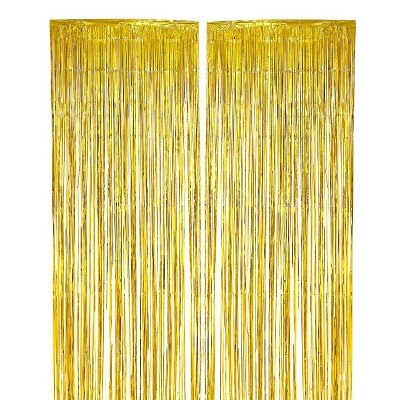 Blue Panda Gold Foil Fringe Curtains - Metallic Tinsel Backdrop for Party Decorations (3 x 8 ft, 2 Pack)
