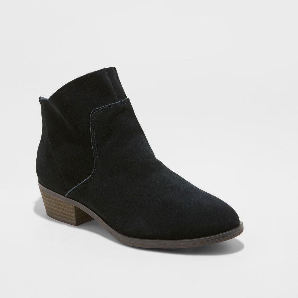 Women's Dedra Suede Metallic Leather Fashion Ankle Boots - Universal Thread Black 5