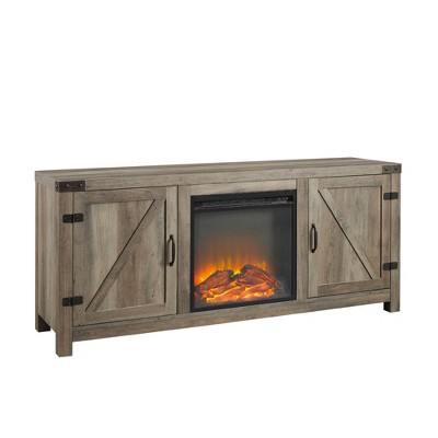 """Modern Rustic Barn Door Storage Console with Electric Fireplace TV Stand for TVs up to 65"""" - Saracina Home"""