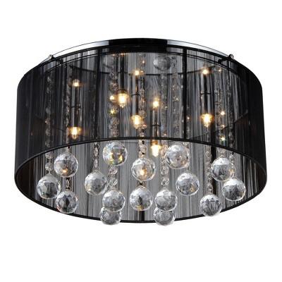 "17"" x 17"" x 9"" Crystal Ceiling Light Black - Warehouse of Tiffany"