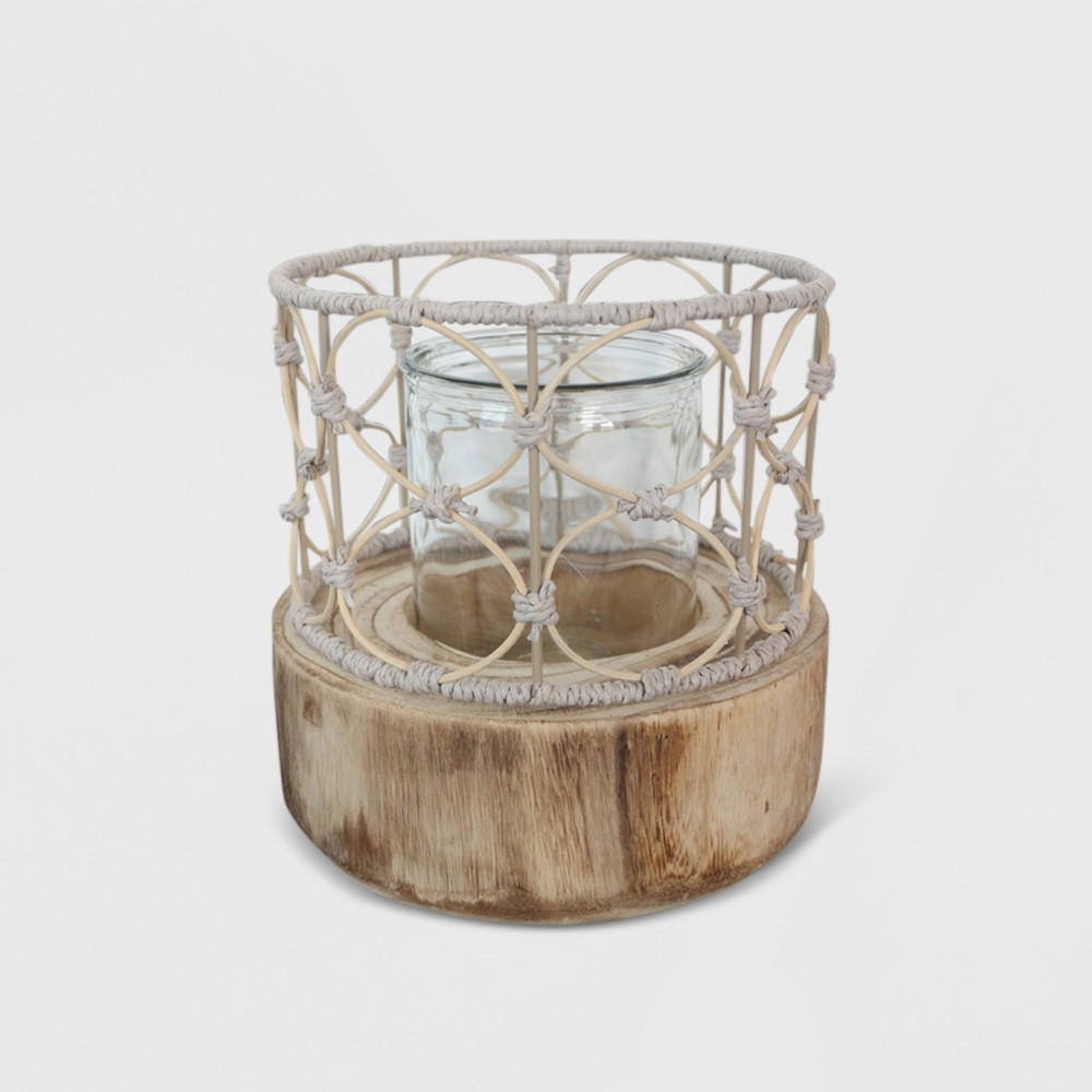 "Image of ""10"""" Outdoor Lantern Wood & Woven - Opalhouse"""