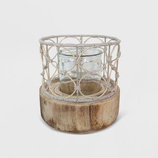 "10"" Outdoor Lantern Wood & Woven - Opalhouse™"