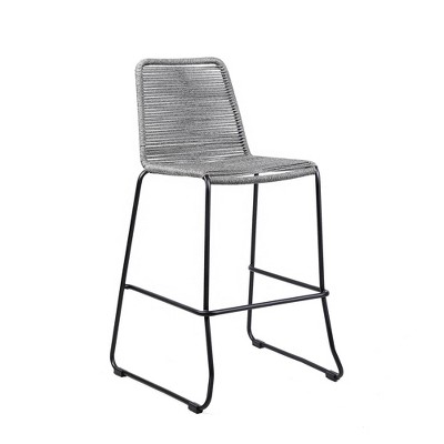 """Shasta 30"""" Outdoor Metal and  Rope Stackable Barstool - Armen Living"""