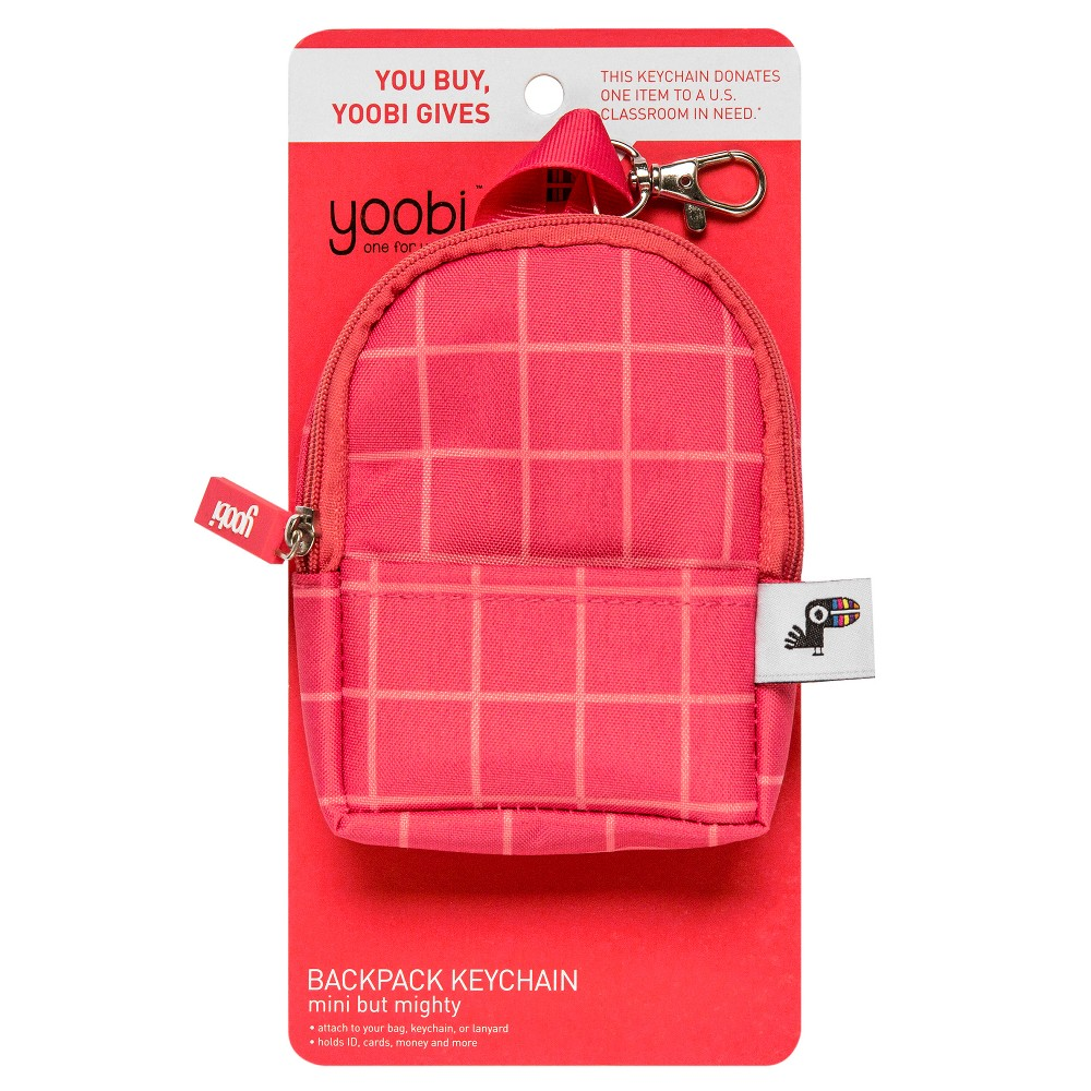 Yoobi Coin Purse Keychain - Coral Mini Backpack, Size: Small, Coral Berry