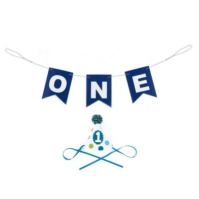 Blue Panda Blue 1st Birthday Party Decorations Supplies for High Chair - ONE Party Banner & Paper Party Hat