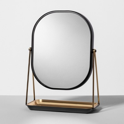 Vanity Counter Top Mirror and Trinket Dish - Matte Black - Hearth & Hand™ with Magnolia