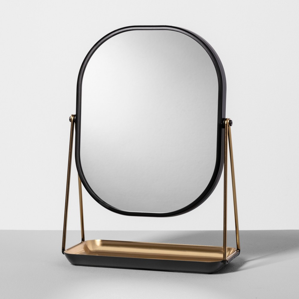Vanity Counter Top Mirror and Trinket Dish Matte Black - Hearth & Hand with Magnolia