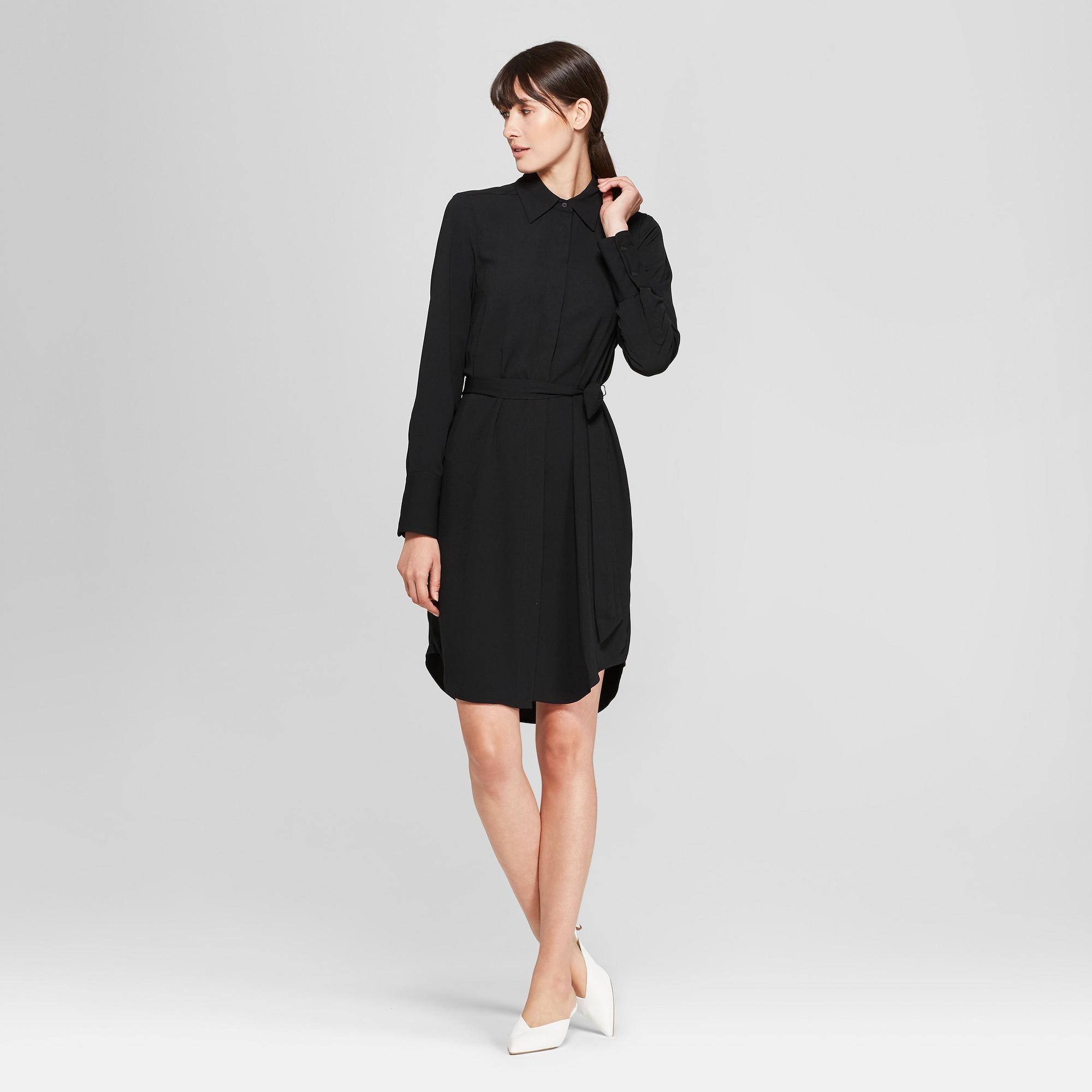Women's Long Sleeve Collared Shirtdress - Prologue Black M