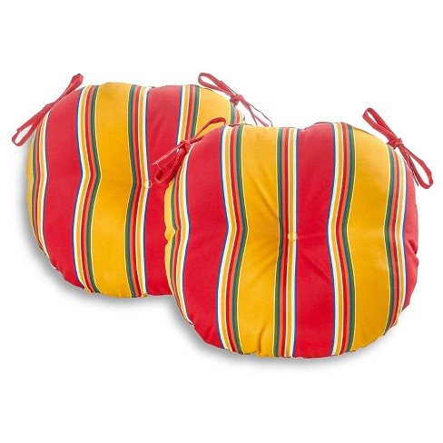 "Set of Two 18"" Carnival Stripe Outdoor Bistro Chair Cushions - Kensington Garden - image 1 of 4"