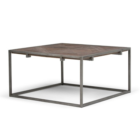 Avery Square Coffee Table Distressed Java Brown Wood Inlay Simpli Home
