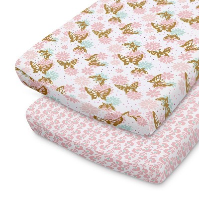 The Peanutshell Changing Pad Covers - Pink and Gold Butterfly/Pink Ditsy Floral 2pk