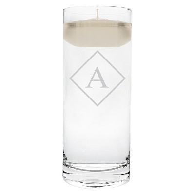 A  Monogram Diamond Shape Floating Wedding Candle