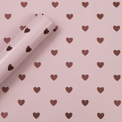 8x2.5' Foil Hearts Gift Wrapping Paper Pink - Spritz™