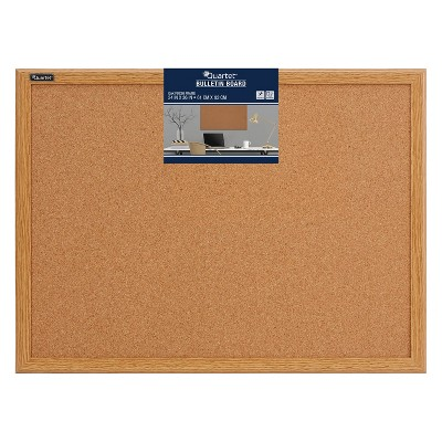 "Quartet 36"" x 24"" Cork Bulletin Board - Oak Finish Frame"