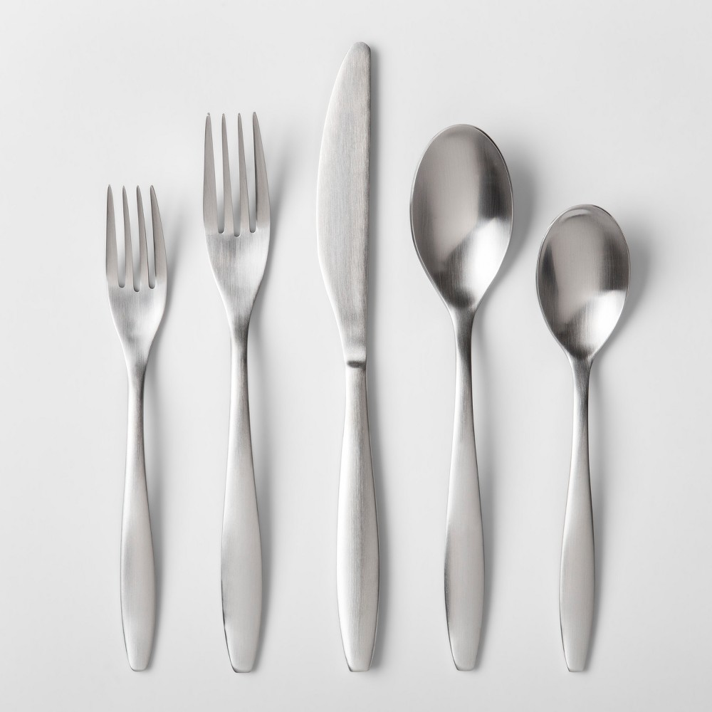 Image of 20pc Curved Satin Stainless Steel (Silver) Silverware Set - Project 62