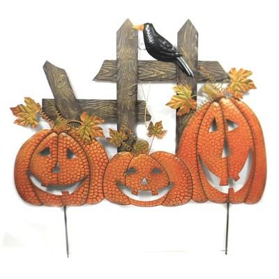 "Home & Garden 34.0"" 3 Pumpkins On Fence Stake Crow Indoor Outdoor Direct Designs International  -  Decorative Garden Stakes"