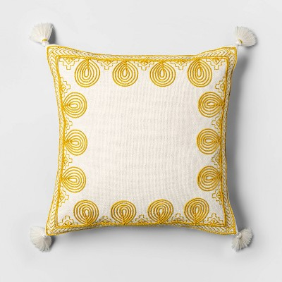 Square Embroidered Border Throw Pillow Saffron - Opalhouse™