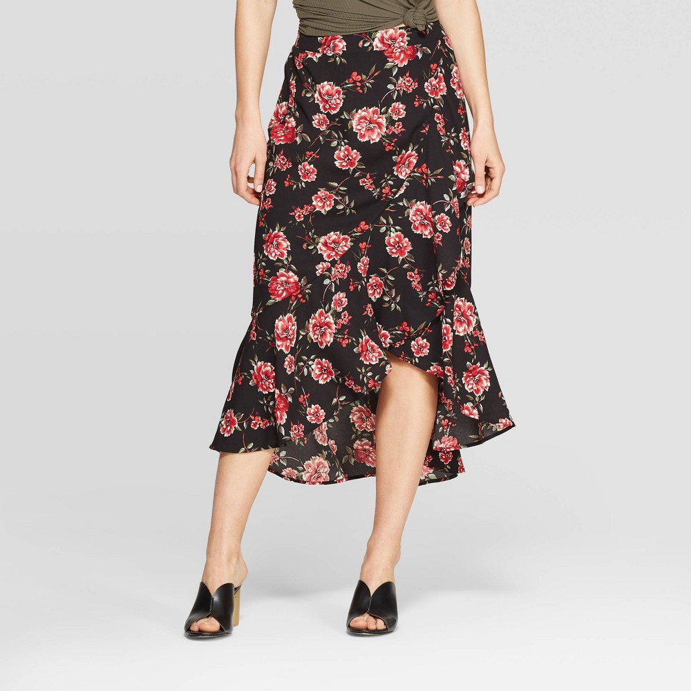 Women's Floral Print Ruffle High Low Maxi Skirt - Xhilaration Black M
