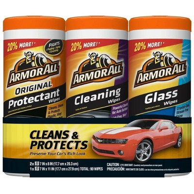 Armor All 3pk 30ct Triple Pack Protectant/Cleaning/Glass Wipes Automotive Interior Cleaner