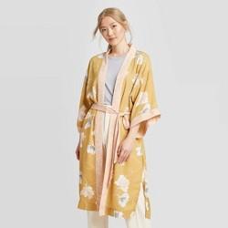 Women's Floral Print Kimono - A New Day™ Brown