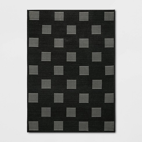 Grid Dots Outdoor Rug Black - Project