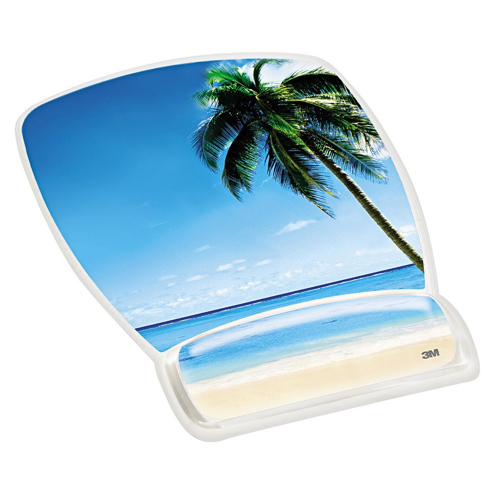 Image of 3M Fun Design Clear Gel Mouse Pad Wrist Rest, 6 4/5 x 8 3/5 x 3/4, Beach Design