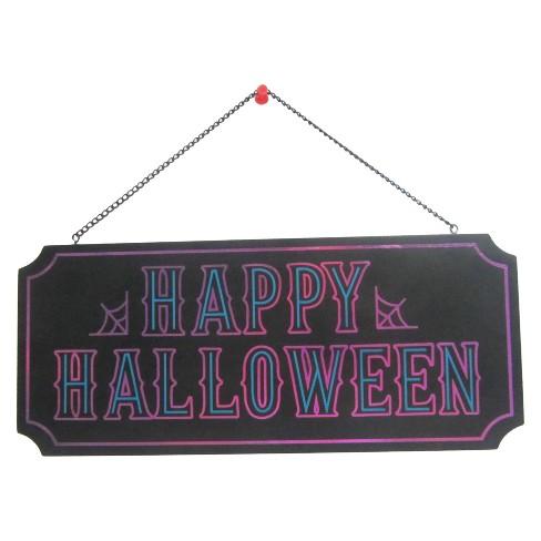 Happy Halloween Wood Hanging Sign Purple - Hyde & EEK! Boutique™ - image 1 of 2