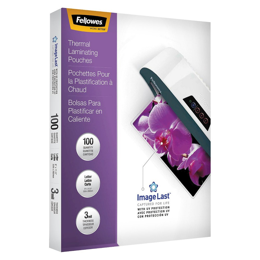 Fellowes ImageLast Laminating Pouches, Letter, 3 mil, 100ct, Clear