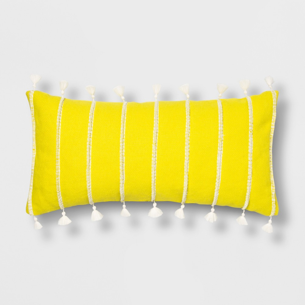 Oblong Stripe Tassel Throw Pillow Yellow - Opalhouse