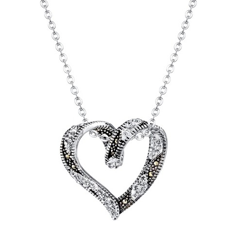 "Silver Plated Marcasite and Crystal Open Heart Pendant - 18.8"" - image 1 of 1"