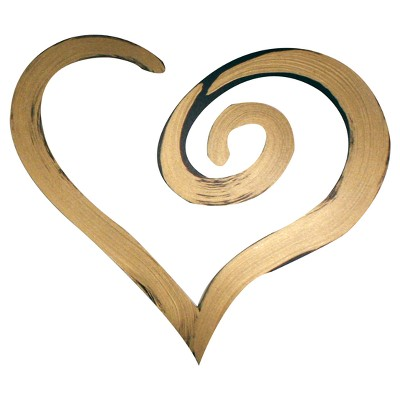 "13"" x 15"" Hand Painted 3D Wall Sculpture Swirl Heart Bronze - Letter2Word"