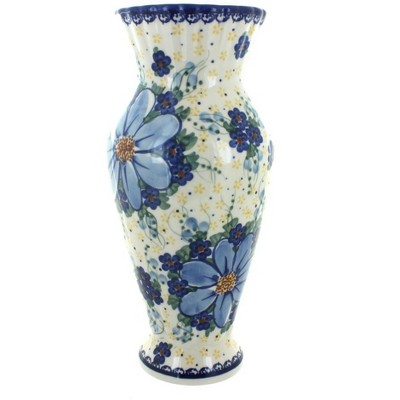Blue Rose Polish Pottery Daisy Surprise Tall Vase