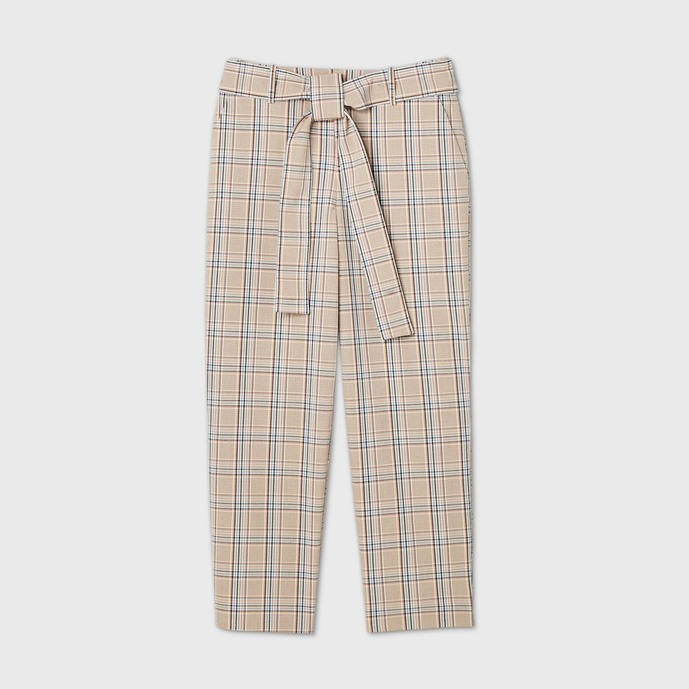 Promos Women's High-Rise Plaid Tie Waist Straight Pants - A New Day™