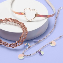 Girls' 3pk Iridescent Choker Set - More Than Magic™ Rose Gold