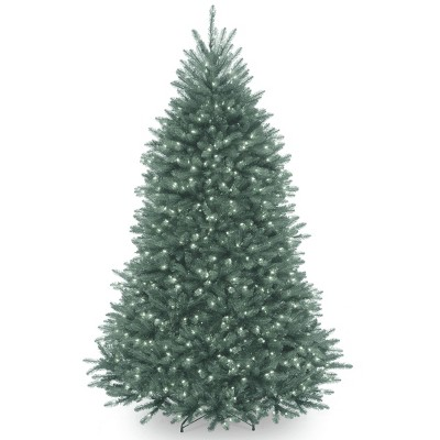 7ft National Christmas Tree Company Pre-Lit Dunhill Blue Fir Hinged Full Artificial Christmas Tree with Clear Lights