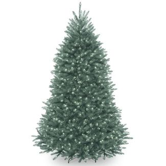National Tree Company 7ft Pre-Lit Dunhill Blue Fir Hinged Full Artificial Tree with Clear Lights