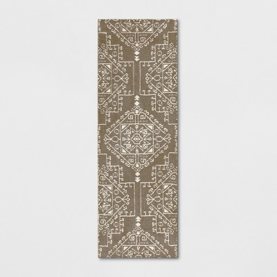 """2'4""""x7' Runner Floral Tribal Persian Knitted Tan - Threshold™"""