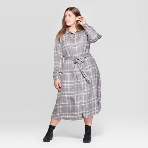 Women\'s Plus Size Plaid Long Sleeve Collared Midi Tie Belt Shirtdress -  Universal Thread™ Gray