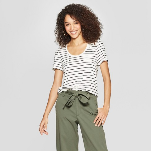Women's Standard Fit Striped Any Day Short Sleeve Scoop Neck T-Shirt - A New Day™ - image 1 of 3