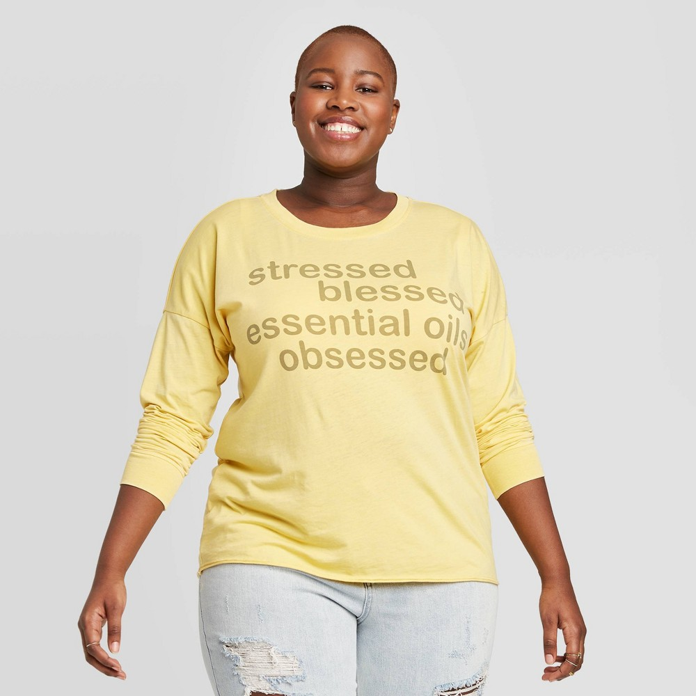Women's Plus Size Essential Oil Obsessed Long Sleeve Graphic T-Shirt - Doe (Juniors') - Yellow 3X was $17.99 now $12.59 (30.0% off)