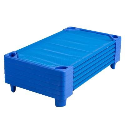 ECR4Kids Streamline Children's Naptime Cot, Stackable Daycare Sleeping Cot for Kids, Assembled, Blue, Set of 6