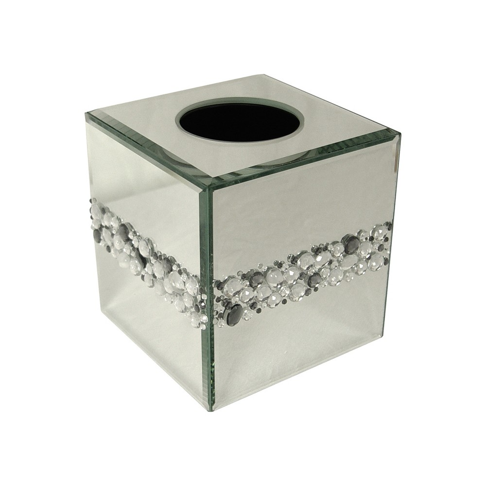 Image of Harlow Boutique Tissue Box Cover Light Silver - Elegant Home Fashions