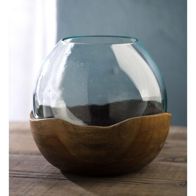 VivaTerra Blown Glass Vase with Teak Base- Large