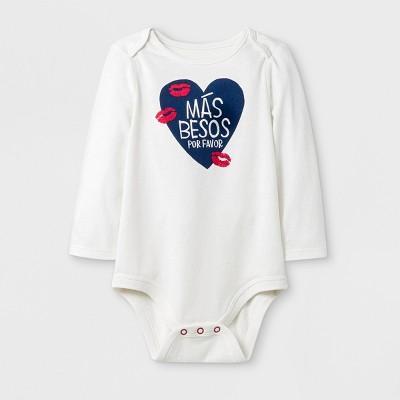 Baby Long Sleeve Más Besos Lap Shoulder Bodysuit - Cat & Jack™ Cream 3-6M