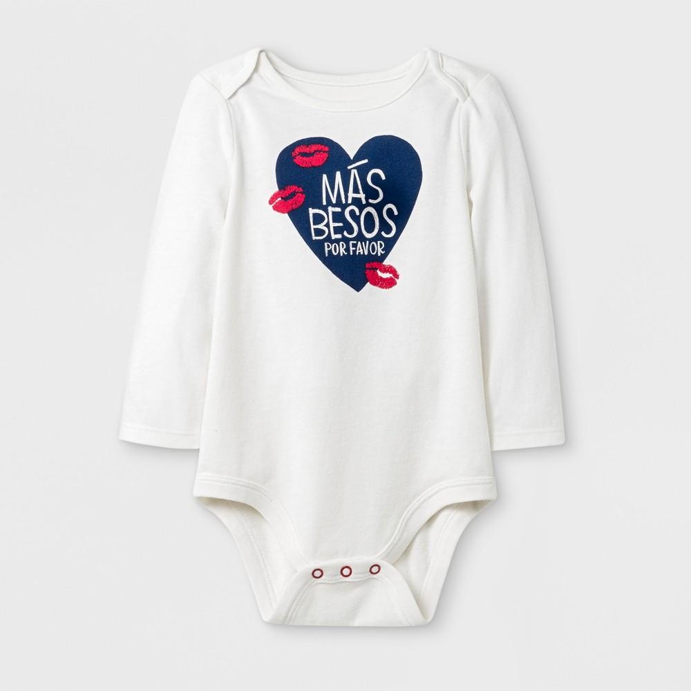 Baby Long Sleeve Más Besos Lap Shoulder Bodysuit - Cat & Jack Cream 6-9M, Infant Unisex, Beige